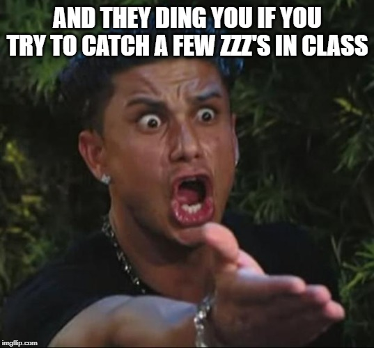 Pauly | AND THEY DING YOU IF YOU TRY TO CATCH A FEW ZZZ'S IN CLASS | image tagged in pauly | made w/ Imgflip meme maker
