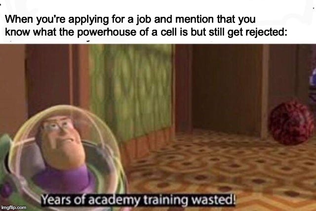 Years Of Academy Training Wasted | When you're applying for a job and mention that you know what the powerhouse of a cell is but still get rejected: | image tagged in years of academy training wasted | made w/ Imgflip meme maker