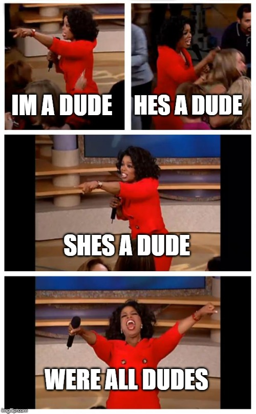 Oprah You Get A Car Everybody Gets A Car | IM A DUDE HES A DUDE SHES A DUDE WERE ALL DUDES | image tagged in memes,oprah you get a car everybody gets a car | made w/ Imgflip meme maker