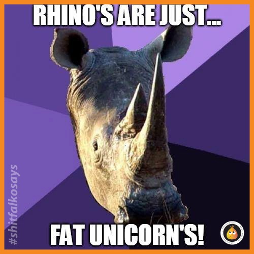 Rhinos are just ...fat unicorns! | image tagged in rhino,unicorns,memes,funny,funny memes | made w/ Imgflip meme maker