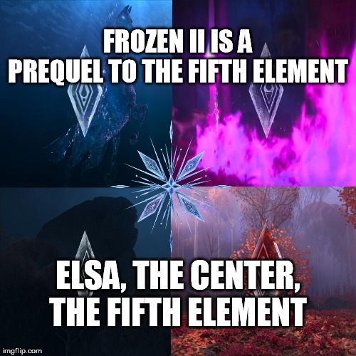 Frozen II is a Prequel to the Fifth Element | FROZEN II IS A PREQUEL TO THE FIFTH ELEMENT ELSA, THE CENTER, THE FIFTH ELEMENT | image tagged in frozen ii,elsa,milla jovovich,the fifth element | made w/ Imgflip meme maker