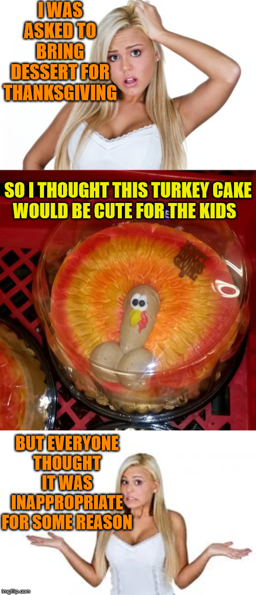 A Blondes Turkey Cake | I WAS ASKED TO BRING DESSERT FOR THANKSGIVING SO I THOUGHT THIS TURKEY CAKE    WOULD BE CUTE FOR THE KIDS BUT EVERYONE THOUGHT IT WAS INAPPR | image tagged in dumb blonde,memes,turkey day,happy thanksgiving,one does not simply,aint nobody got time for that | made w/ Imgflip meme maker