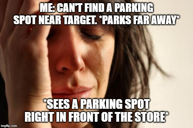 First World Problems Meme | ME: CAN'T FIND A PARKING SPOT NEAR TARGET. *PARKS FAR AWAY* *SEES A PARKING SPOT RIGHT IN FRONT OF THE STORE* | image tagged in memes,first world problems | made w/ Imgflip meme maker