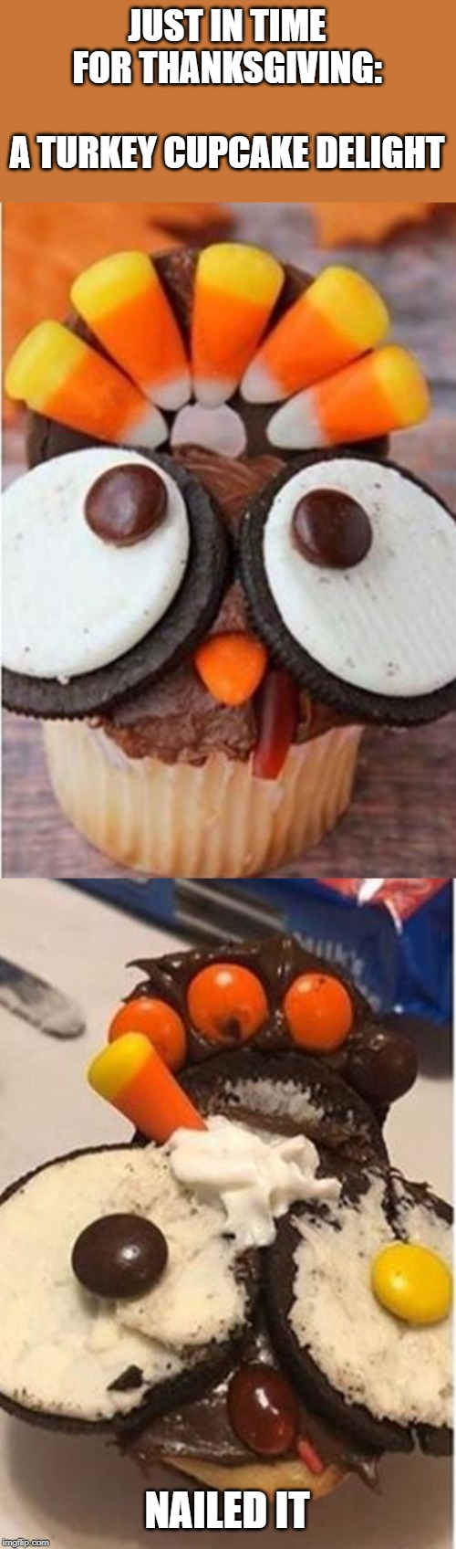Task failed successfully | JUST IN TIME FOR THANKSGIVING:   A TURKEY CUPCAKE DELIGHT NAILED IT | image tagged in memes,funny,turkey,nailed it,task failed successfully,thanksgiving | made w/ Imgflip meme maker