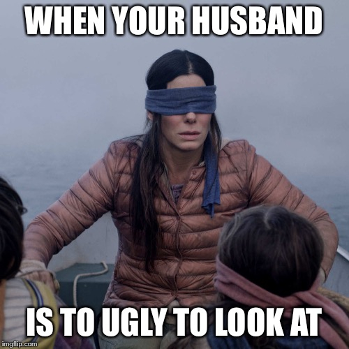 Bird Box Meme | WHEN YOUR HUSBAND IS TO UGLY TO LOOK AT | image tagged in memes,bird box | made w/ Imgflip meme maker