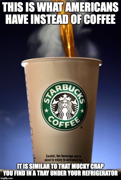 Starbucks | THIS IS WHAT AMERICANS HAVE INSTEAD OF COFFEE IT IS SIMILAR TO THAT MUCKY CRAP YOU FIND IN A TRAY UNDER YOUR REFRIGERATOR | image tagged in starbucks,coffee,memes | made w/ Imgflip meme maker
