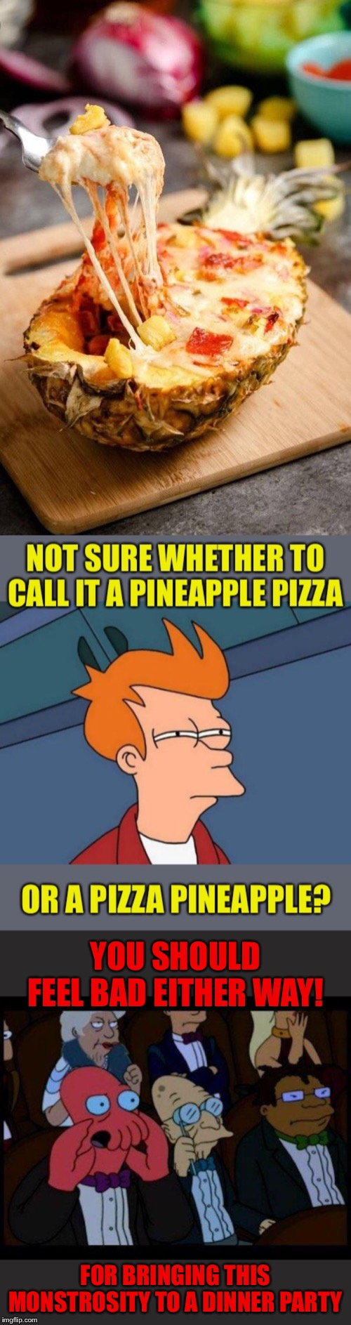 Blackjack and hookers would have sufficed | YOU SHOULD FEEL BAD EITHER WAY! FOR BRINGING THIS MONSTROSITY TO A DINNER PARTY | image tagged in memes,you should feel bad zoidberg,futurama fry,pineapple pizza,or is it,pizza pineapple | made w/ Imgflip meme maker