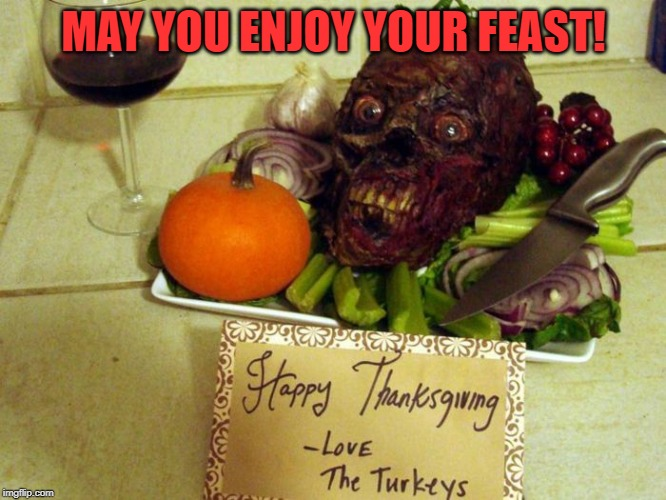 Have a Happy Thanksgiving | MAY YOU ENJOY YOUR FEAST! | image tagged in thanksgiving,happy thanksgiving,horror,funny,turkey,fun | made w/ Imgflip meme maker