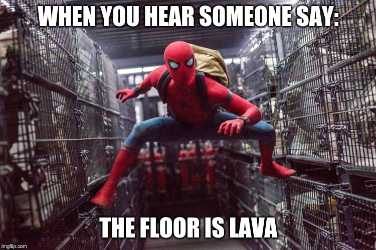 spooder | WHEN YOU HEAR SOMEONE SAY: THE FLOOR IS LAVA | image tagged in spiderman,kermit the frog,reeeeeeeeeeeeeeeeeeeeee,the floor is lava,bruh,y u no | made w/ Imgflip meme maker