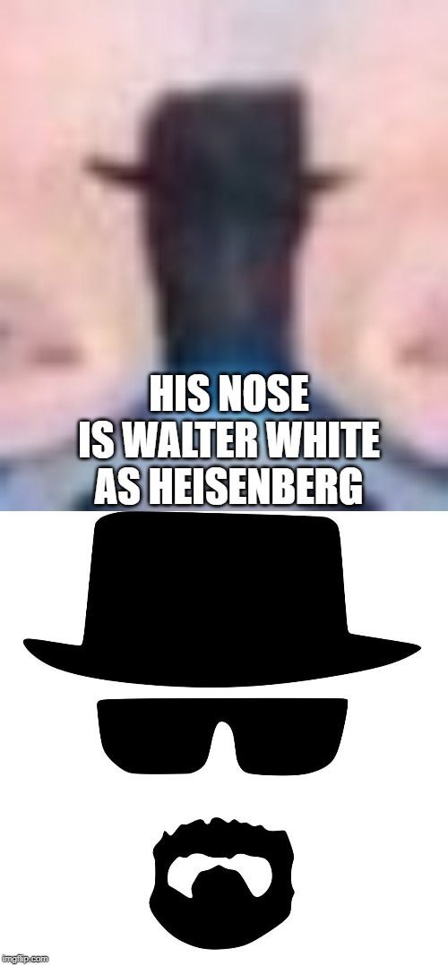 HIS NOSE IS WALTER WHITE AS HEISENBERG | made w/ Imgflip meme maker