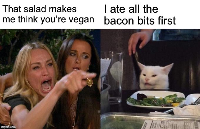 Woman Yelling At Cat Meme | That salad makes me think you're vegan I ate all the bacon bits first | image tagged in memes,woman yelling at cat | made w/ Imgflip meme maker