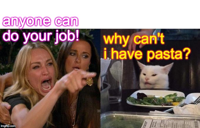 Woman Yelling At Cat Meme | anyone can do your job! why can't i have pasta? | image tagged in memes,woman yelling at cat | made w/ Imgflip meme maker