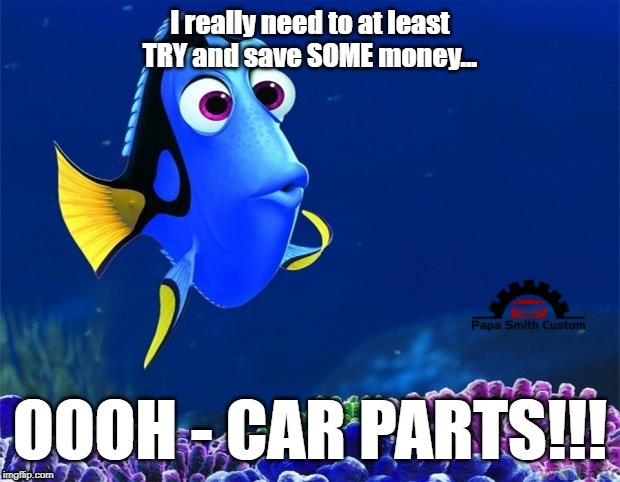 Thoughts on saving money | image tagged in dory,money,car parts,budget,tuning,car memes | made w/ Imgflip meme maker