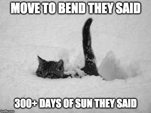 Snow Day |  MOVE TO BEND THEY SAID; 300+ DAYS OF SUN THEY SAID | image tagged in snow cat,snow,oregon | made w/ Imgflip meme maker