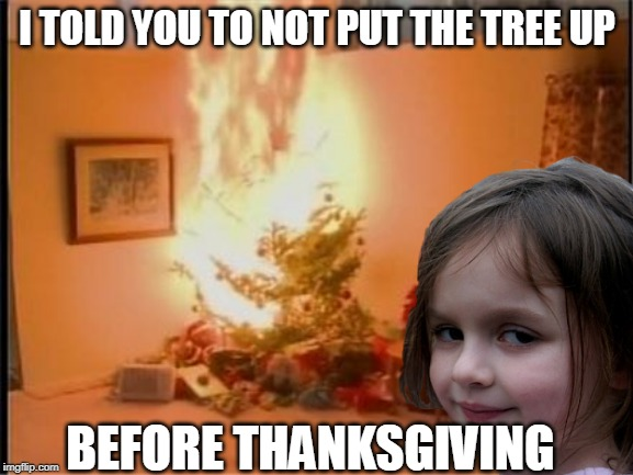 CHRISTMAS IS NEXT MONTH | I TOLD YOU TO NOT PUT THE TREE UP BEFORE THANKSGIVING | image tagged in christmas tree,thanksgiving,disaster girl,disaster girl christmas | made w/ Imgflip meme maker