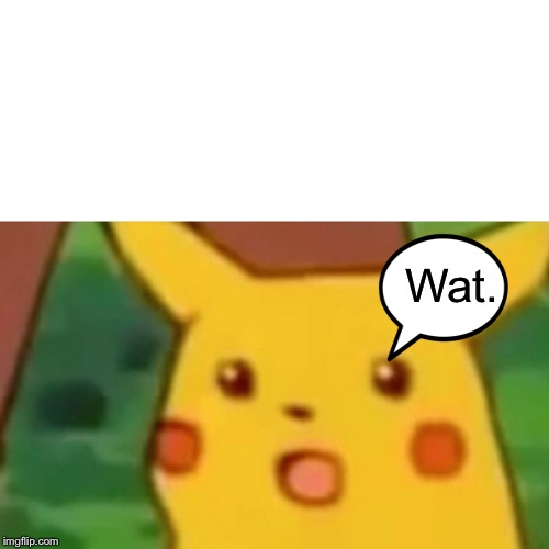 Wat. | image tagged in memes,surprised pikachu | made w/ Imgflip meme maker