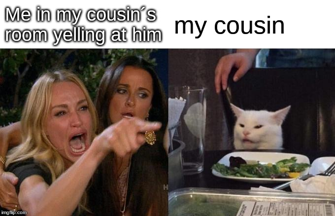 Woman Yelling At Cat Meme | Me in my cousin´s room yelling at him my cousin | image tagged in memes,woman yelling at cat | made w/ Imgflip meme maker