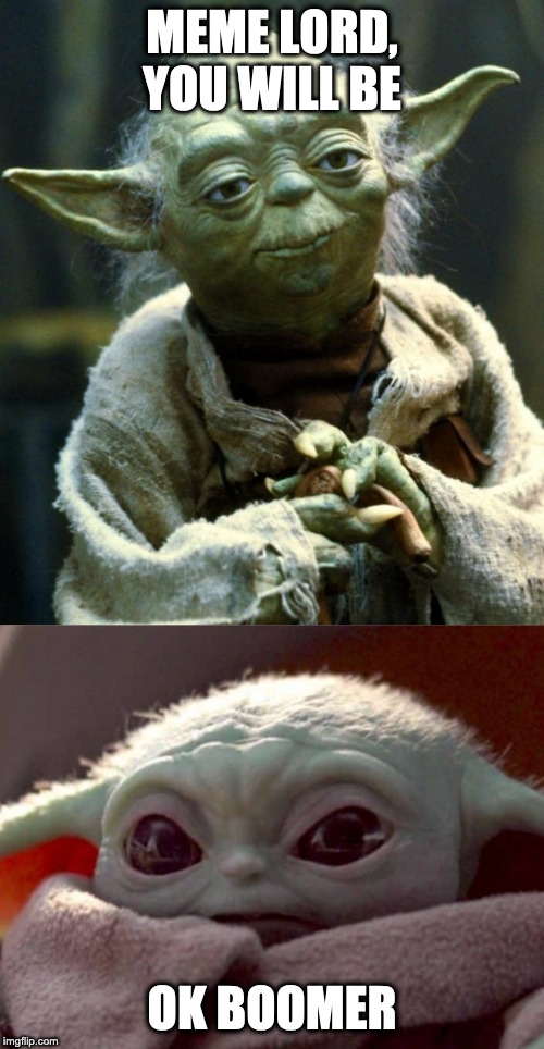 MEME LORD, YOU WILL BE; OK BOOMER | image tagged in memes,star wars yoda | made w/ Imgflip meme maker