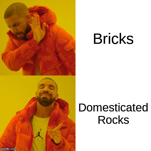 Drake Hotline Bling Meme | Bricks Domesticated Rocks | image tagged in memes,drake hotline bling | made w/ Imgflip meme maker