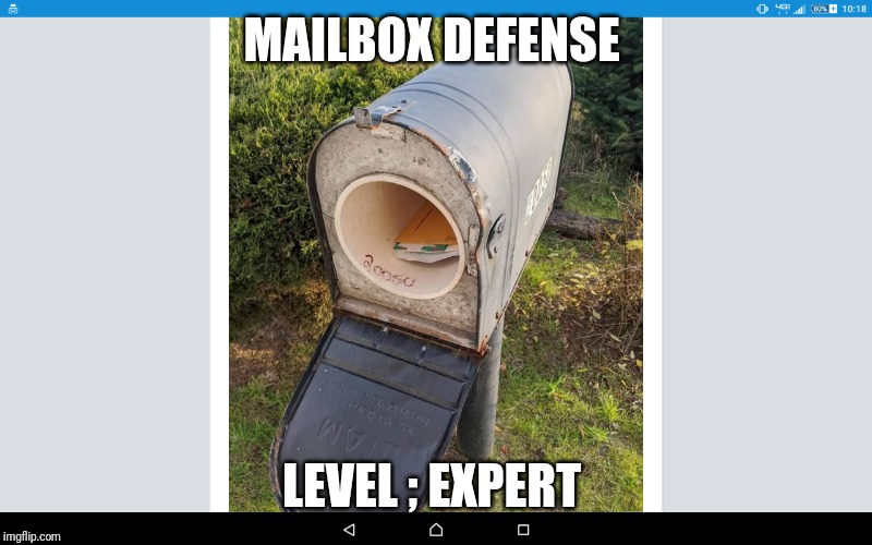 MAILBOX DEFENSE; LEVEL ; EXPERT | image tagged in mailbox,level expert | made w/ Imgflip meme maker