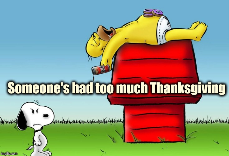Happy Thanksgiving everyone ! | Someone's had too much Thanksgiving | image tagged in snoopy,too much,turkey,beer,football,family | made w/ Imgflip meme maker