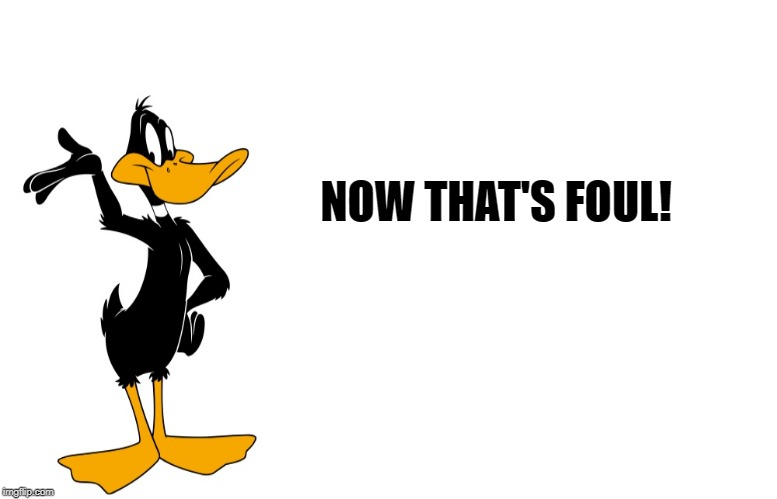 daffy speaking | NOW THAT'S FOUL! | image tagged in daffy speaking | made w/ Imgflip meme maker