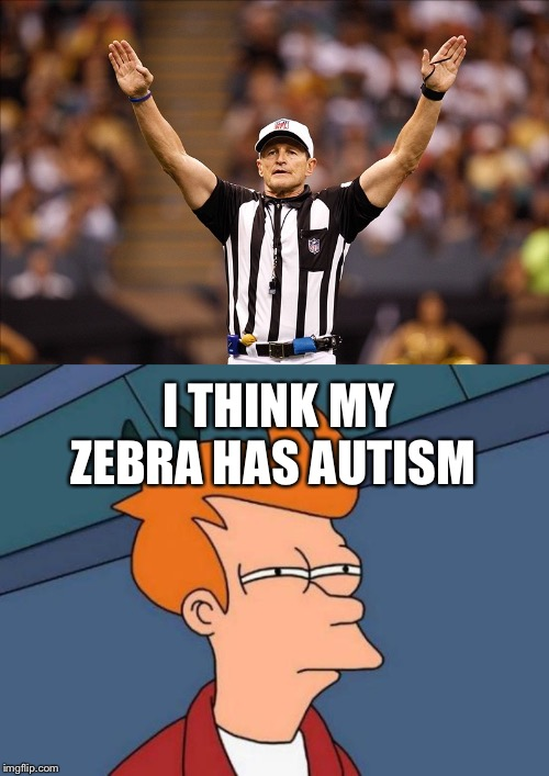 Those zebras are blind! | I THINK MY ZEBRA HAS AUTISM | image tagged in memes,futurama fry,logical fallacy referee nfl 85,lions suck | made w/ Imgflip meme maker