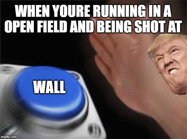 Blank Nut Button | WHEN YOURE RUNNING IN A OPEN FIELD AND BEING SHOT AT WALL | image tagged in memes,blank nut button | made w/ Imgflip meme maker