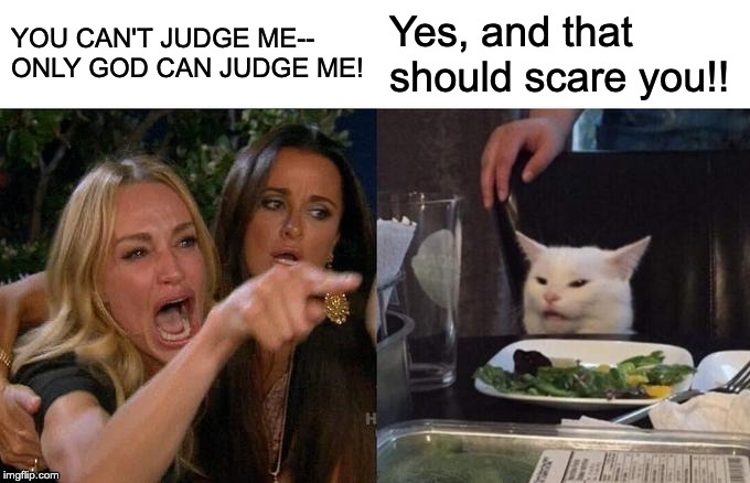 Who's To Judge? | YOU CAN'T JUDGE ME-- ONLY GOD CAN JUDGE ME! Yes, and that should scare you!! | image tagged in woman yelling at cat,only god can judge,crazy lady,white cat,don't judge me,bible misunderstandings | made w/ Imgflip meme maker