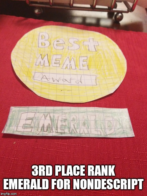 3RD PLACE RANK EMERALD FOR NONDESCRIPT | made w/ Imgflip meme maker