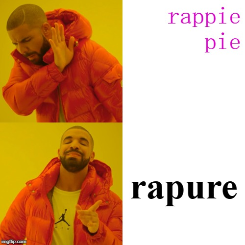 Drake Hotline Bling Meme | rappie pie rapure | image tagged in memes,drake hotline bling | made w/ Imgflip meme maker