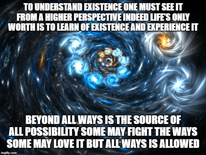 Existence Oversight |  TO UNDERSTAND EXISTENCE ONE MUST SEE IT FROM A HIGHER PERSPECTIVE INDEED LIFE'S ONLY WORTH IS TO LEARN OF EXISTENCE AND EXPERIENCE IT; BEYOND ALL WAYS IS THE SOURCE OF ALL POSSIBILITY SOME MAY FIGHT THE WAYS SOME MAY LOVE IT BUT ALL WAYS IS ALLOWED | image tagged in existence,existentialism,parallel universe,do you know the way,not funny | made w/ Imgflip meme maker