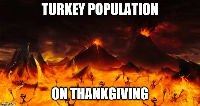 Hell | TURKEY POPULATION ON THANKGIVING | image tagged in hell | made w/ Imgflip meme maker