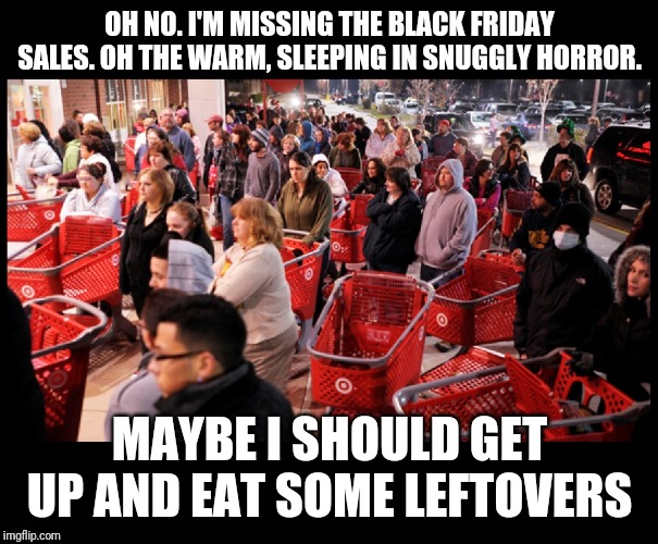 Black Friday | OH NO. I'M MISSING THE BLACK FRIDAY SALES. OH THE WARM, SLEEPING IN SNUGGLY HORROR. MAYBE I SHOULD GET UP AND EAT SOME LEFTOVERS | image tagged in black friday | made w/ Imgflip meme maker