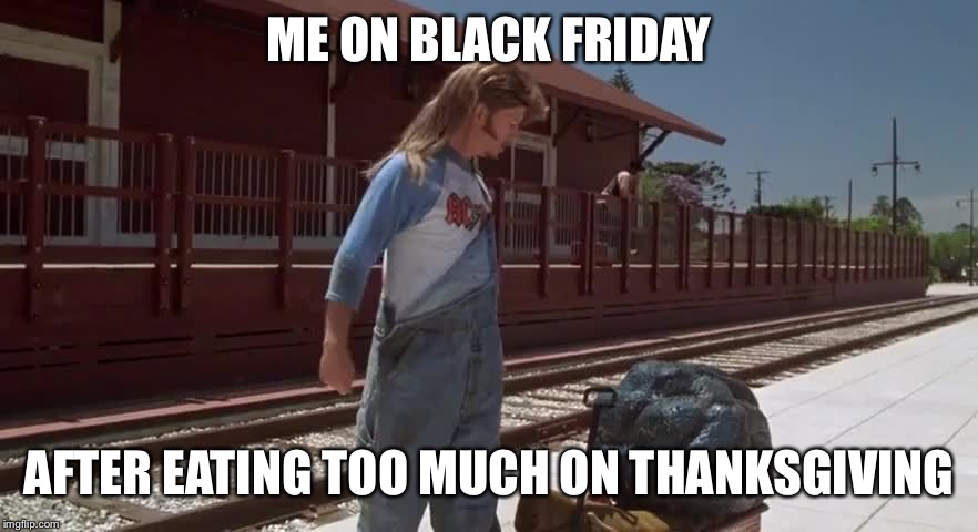 ME ON BLACK FRIDAY AFTER EATING TOO MUCH ON THANKSGIVING | image tagged in thanksgiving | made w/ Imgflip meme maker