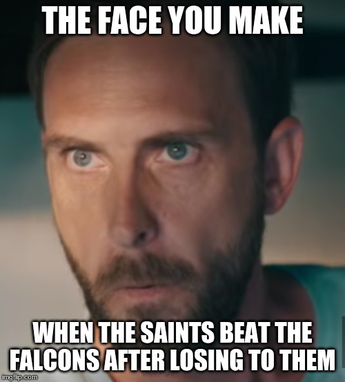youtube ad guy | THE FACE YOU MAKE WHEN THE SAINTS BEAT THE FALCONS AFTER LOSING TO THEM | image tagged in youtube ad guy | made w/ Imgflip meme maker