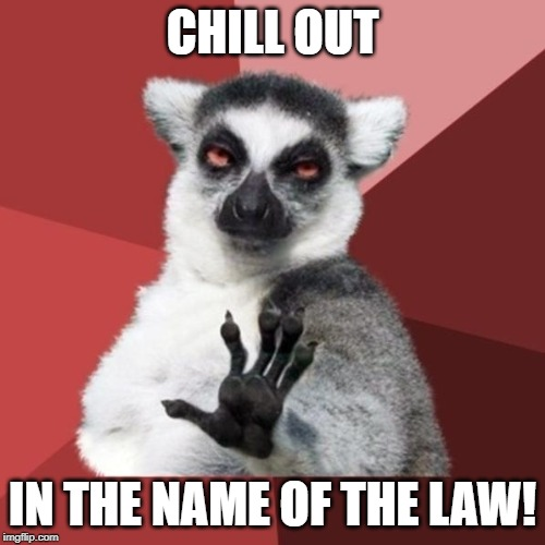 Chill Out Lemur Meme | CHILL OUT IN THE NAME OF THE LAW! | image tagged in memes,chill out lemur | made w/ Imgflip meme maker