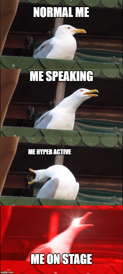 Inhaling Seagull Meme | NORMAL ME ME SPEAKING ME HYPER ACTIVE ME ON STAGE | image tagged in memes,inhaling seagull | made w/ Imgflip meme maker