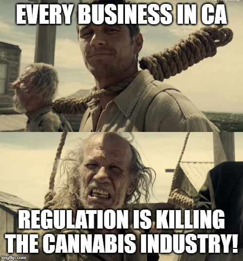 First time? | EVERY BUSINESS IN CA REGULATION IS KILLING THE CANNABIS INDUSTRY! | image tagged in first time | made w/ Imgflip meme maker