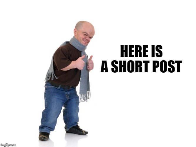 midget |  HERE IS A SHORT POST | image tagged in midget | made w/ Imgflip meme maker
