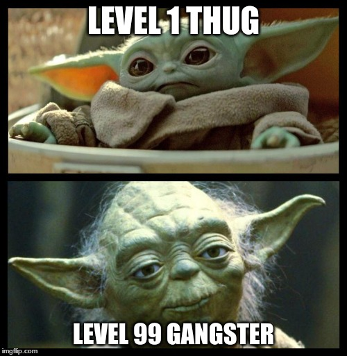 baby yoda | LEVEL 1 THUG LEVEL 99 GANGSTER | image tagged in baby yoda | made w/ Imgflip meme maker