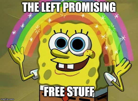 Imagination Spongebob Meme | THE LEFT PROMISING FREE STUFF | image tagged in memes,imagination spongebob | made w/ Imgflip meme maker