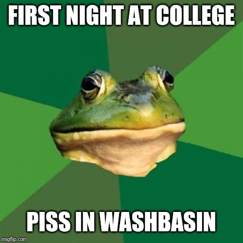 Foul Bachelor Frog Meme | FIRST NIGHT AT COLLEGE PISS IN WASHBASIN | image tagged in memes,foul bachelor frog | made w/ Imgflip meme maker