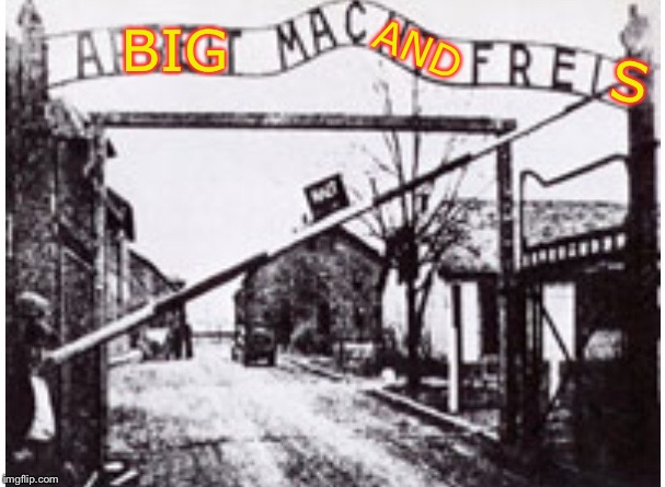 Dark humor weekend with TimidDeer & LordCheesus 29 Nov-1 Dec.Put another one on the grill. | BIG S AND | image tagged in auschwitz sign,arbeit macht frei,mcdonalds,dark humor,ww2,genocide | made w/ Imgflip meme maker