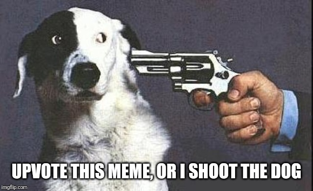 Upvote Ransom | UPVOTE THIS MEME, OR I SHOOT THE DOG | image tagged in or i shoot the dog | made w/ Imgflip meme maker