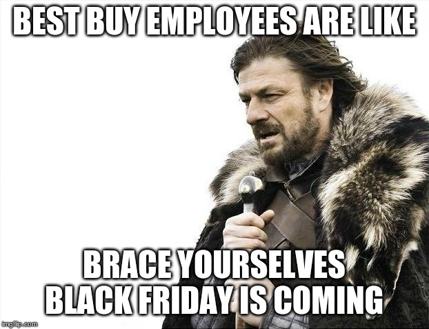 Brace Yourselves X is Coming Meme | BEST BUY EMPLOYEES ARE LIKE BRACE YOURSELVES BLACK FRIDAY IS COMING | image tagged in memes,brace yourselves x is coming | made w/ Imgflip meme maker