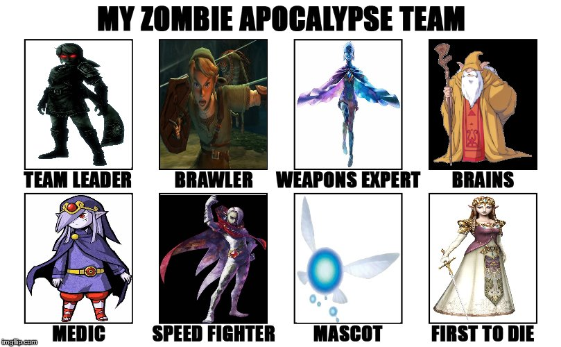 This is my Zelda Zombie Apocalypse Team. | image tagged in my zombie apocalypse team v2 memes | made w/ Imgflip meme maker