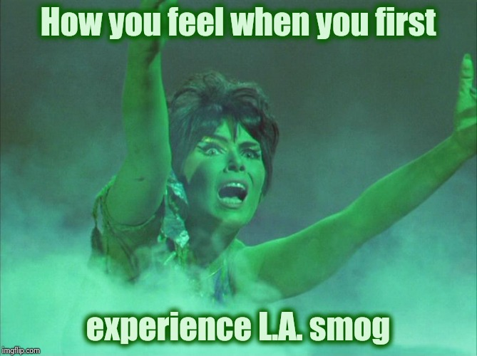 A visual aid for those who have never been there |  How you feel when you first; experience L.A. smog | image tagged in yvonne craig was smoking,smog,i love the smell of napalm in the morning,puke,evil dead,my time has come | made w/ Imgflip meme maker