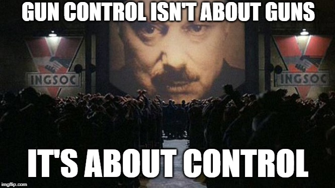 1984 | GUN CONTROL ISN'T ABOUT GUNS IT'S ABOUT CONTROL | image tagged in 1984 | made w/ Imgflip meme maker