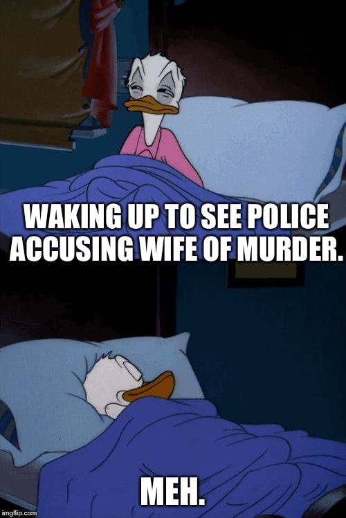 Literally every husband these days | WAKING UP TO SEE POLICE ACCUSING WIFE OF MURDER. MEH. | image tagged in donald duck,wife,husband,meh | made w/ Imgflip meme maker